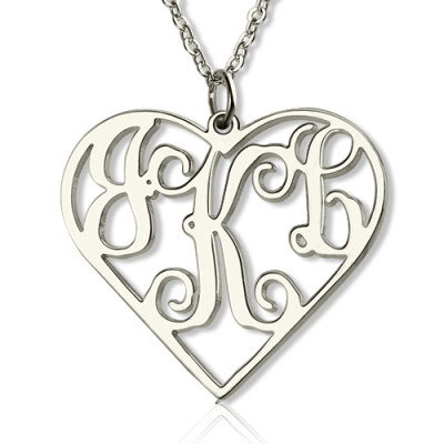 Sterling Silver Cut Out Heart Monogram Necklace - The Name Jewellery™