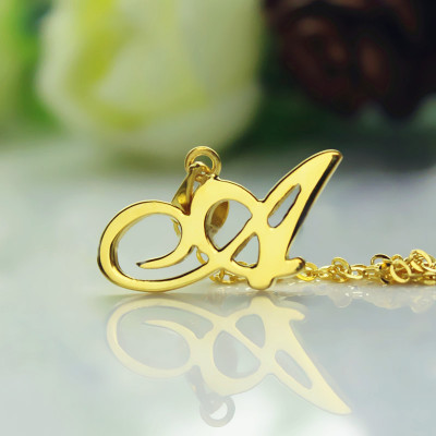 18ct Gold Plated Christina Applegate Initial Necklace - The Name Jewellery™