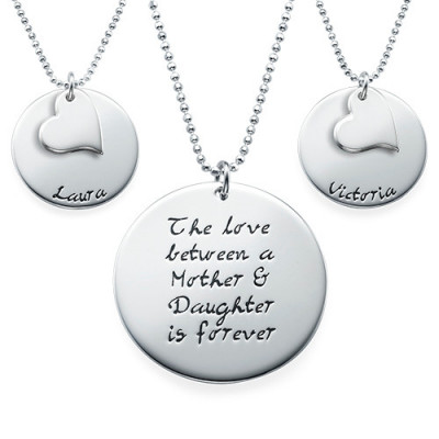 Mother Daughter Gift - Set of Three Engraved Necklaces - The Name Jewellery™