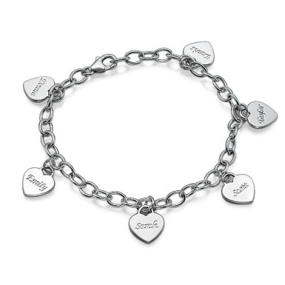 Mum Charm Bracelet/Anklet with Personalised Hearts - The Name Jewellery™