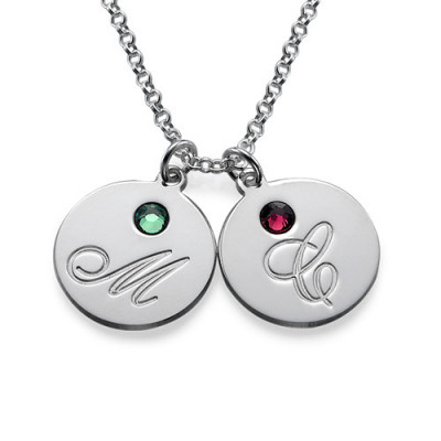 Multiple Initial Pendant Necklace with Birthstones - The Name Jewellery™