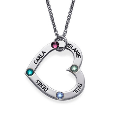 Mum's Birthstone Heart Necklace - The Name Jewellery™