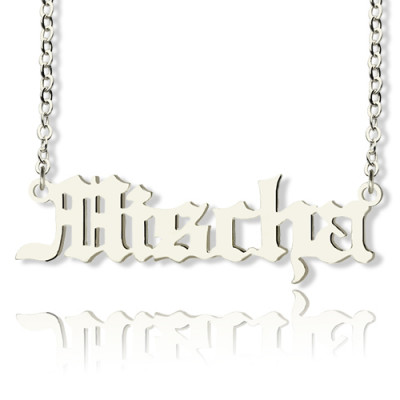 Mischa Barton Style Old English Font Name Necklace 18ct White Gold Plated - The Name Jewellery™