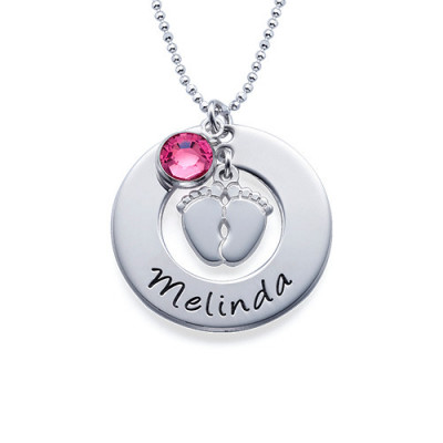 New Mum Necklace with Baby Feet - The Name Jewellery™