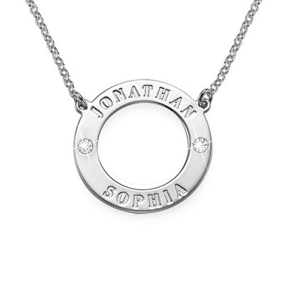 Personalised Silver Karma Necklace with Swarovski - The Name Jewellery™