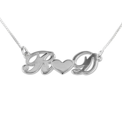 Personalised Silver Couples Heart Necklace - The Name Jewellery™