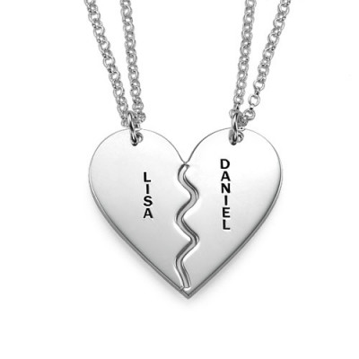 Personalised Silver Breakable Heart Necklaces - The Name Jewellery™