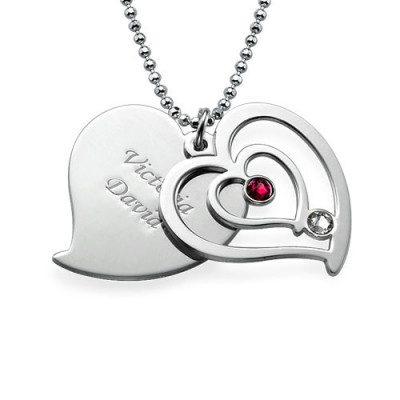 Personalised Couples Birthstone Heart Necklace - The Name Jewellery™