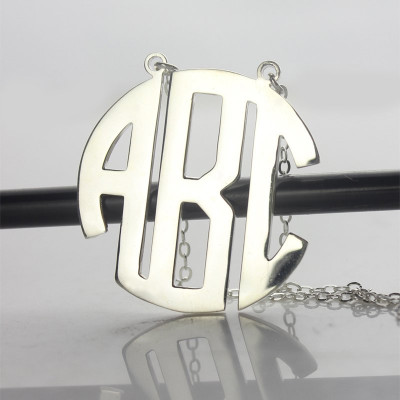 Sterling Silver Block Monogram Pendant Necklace - The Name Jewellery™