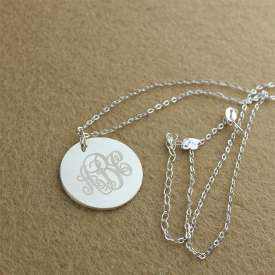 Engraved Disc Monogram Necklace Sterling Silver - The Name Jewellery™