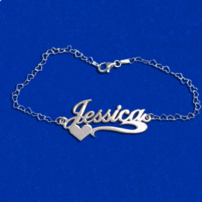 Side Heart Silver Name Bracelet/Anklet - The Name Jewellery™