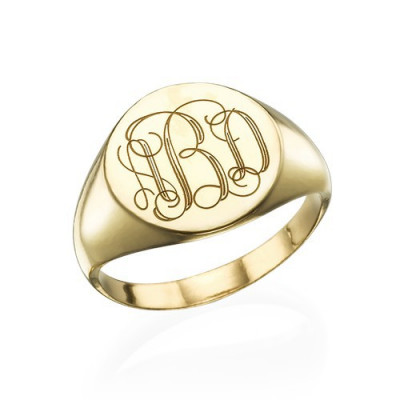 Signet Ring in Gold Plating with Engraved Monogram - The Name Jewellery™