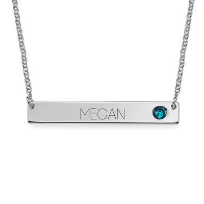 Silver Bar Necklace with Birthstone - The Name Jewellery™