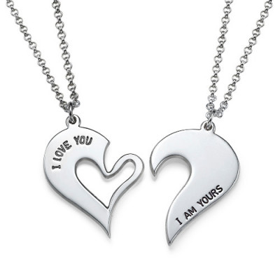 Silver Couples Breakable Heart Necklace - The Name Jewellery™
