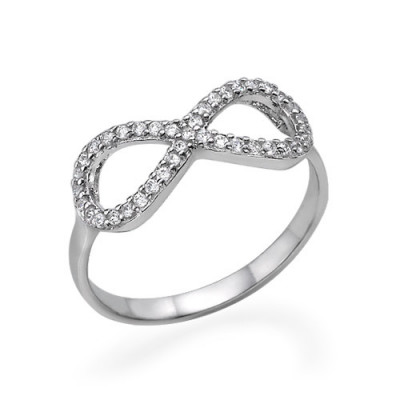 Silver Cubic Zirconia Encrusted Infinity Ring - The Name Jewellery™