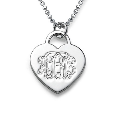 Silver Engraved Monogram Initials Heart Pendant - The Name Jewellery™