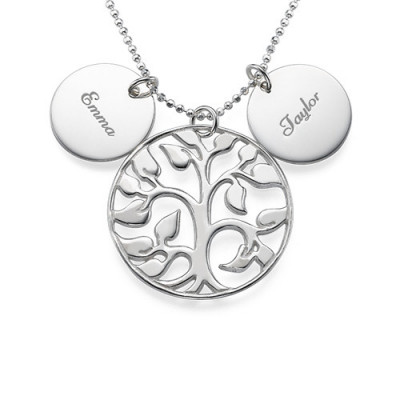 Engraved Disc Cut Out Family Tree Necklace - The Name Jewellery™