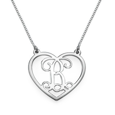 Silver Heart Initials Necklace - The Name Jewellery™