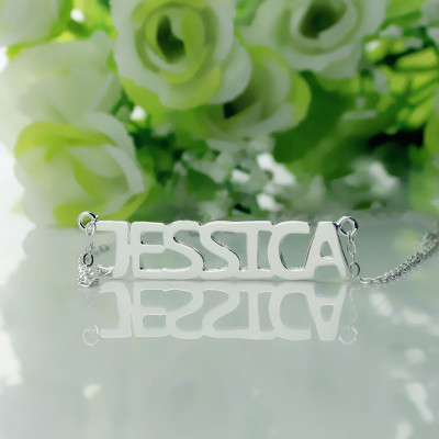 "Block Letter Name Necklace Silver - ""jessica"" - The Name Jewellery™"