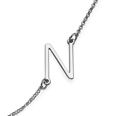 Silver Side Initial Necklace - The Name Jewellery™