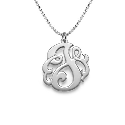 Silver Swirly Initial Necklace - The Name Jewellery™