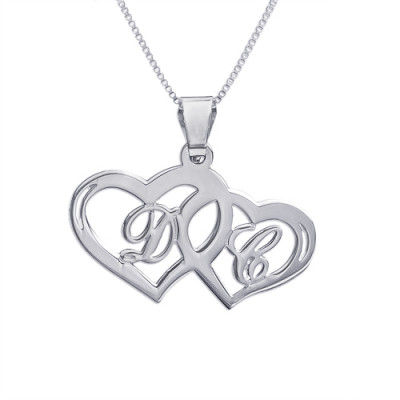 Silver Couples Hearts Pendant - The Name Jewellery™