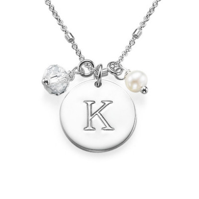 Sterling Silver Charm Initial Pendant - The Name Jewellery™