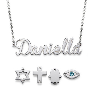 Sterling Silver Charm Name Necklace - The Name Jewellery™