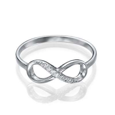 Sterling Silver Cubic Zirconia Infinity Ring - The Name Jewellery™