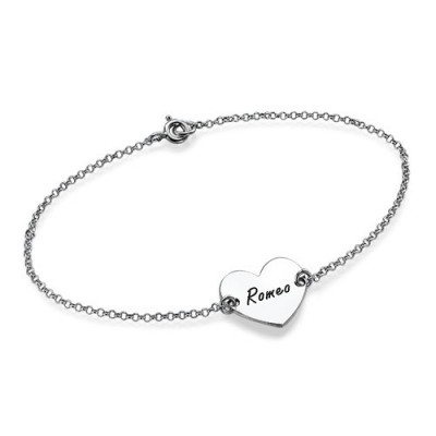 Sterling Silver Engraved Heart Couples Bracelet/Anklet - The Name Jewellery™
