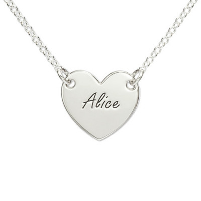 Sterling Silver Engraved Heart Necklace - The Name Jewellery™