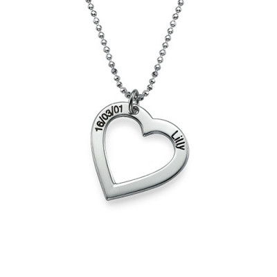 Sterling Silver Engraved Heart Necklace-One Pendant/Two Pendants/More Pendants - The Name Jewellery™