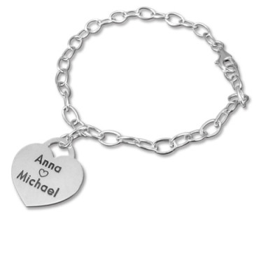 Sterling Silver Heart Charm Bracelet/Anklet - The Name Jewellery™