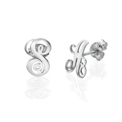 Sterling Silver Initial Stud Earrings - The Name Jewellery™