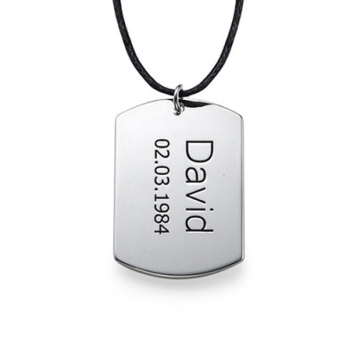 "Sterling Silver Men's ""Dog Tag"" Necklace - The Name Jewellery™"