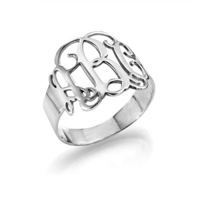 Sterling Silver Monogram Ring - The Name Jewellery™