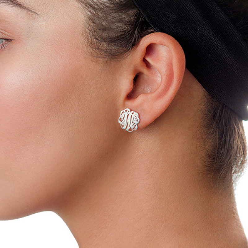 627234a46 ... Sterling Silver Monogram Stud Earrings - The Name Jewellery™