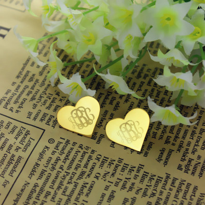 Heart Monogram Earrings Studs Cusotm Solid 18ct Gold - The Name Jewellery™