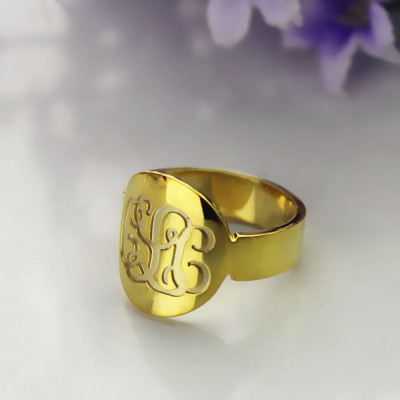 Solid Gold Engraved Monogram Itnitial Ring - The Name Jewellery™