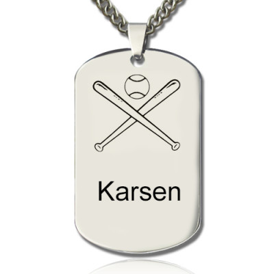 Baseball Dog Tag Name Necklace - The Name Jewellery™