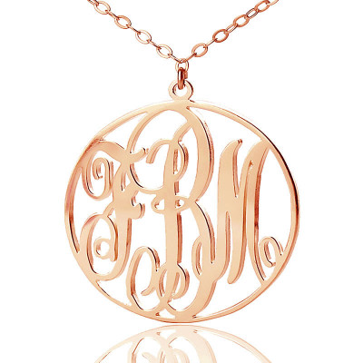 Personalised 18ct Rose Gold Plated Vine Font Circle Initial Monogram Necklace - The Name Jewellery™