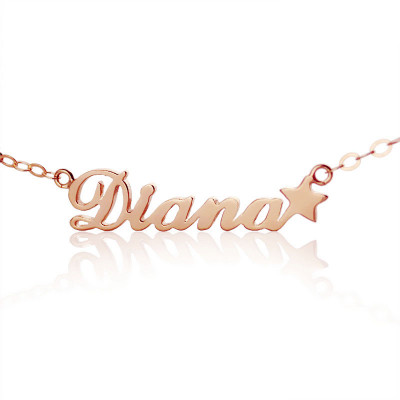 18ct Rose Gold Plated Carrie Style Name Necklace With Star - The Name Jewellery™