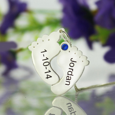 Personalised Memory Feet Necklace with Date  Name Sterling Silver - The Name Jewellery™