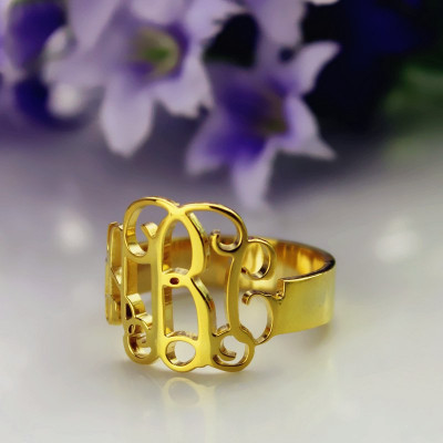 Solid Gold Personalised Monogram Ring - The Name Jewellery™