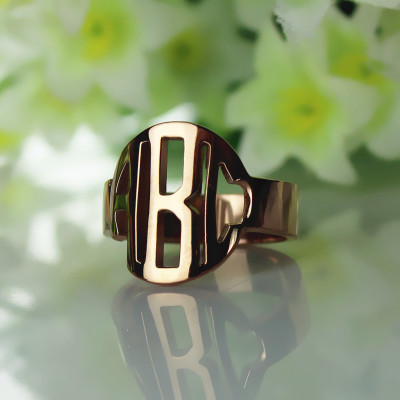 Personalised Circle Block Monogram 3 Initials Ring Solid Rose Gold Ring - The Name Jewellery™