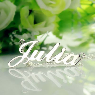 Solid 18ct White Gold Plated Julia Style Name Necklace - The Name Jewellery™