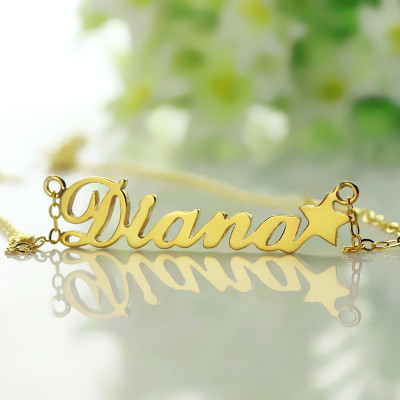 18ct Gold Plated Carrie Style Name Necklace With Star - The Name Jewellery™