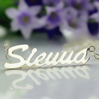 Solid White Gold Sienna Style Name Necklace - The Name Jewellery™