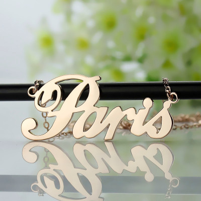 Paris Hilton Style Name Necklace 18ct Solid Rose Gold Plated - The Name Jewellery™