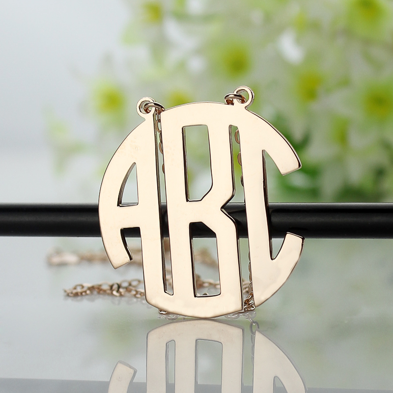 545b8f6e8 Solid Rose Gold Initial Block Monogram Pendant Necklace - The Name  Jewellery™